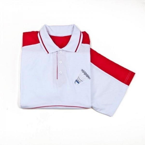 Haft na biało czerwonej koszulce