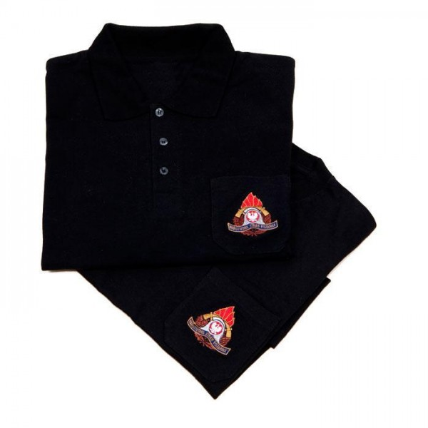 Koszulka polo z haftowanym logo PSP na piersi oraz napisem straż na plecach